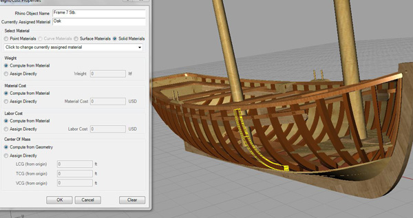 Assigning material to each component part of the modelled vessel